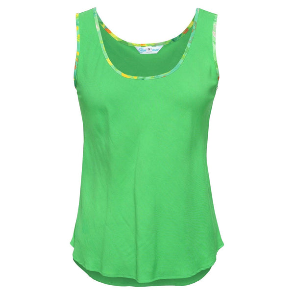 Solid Tank Top with Print Trim - Green Garden - jamsworld.com