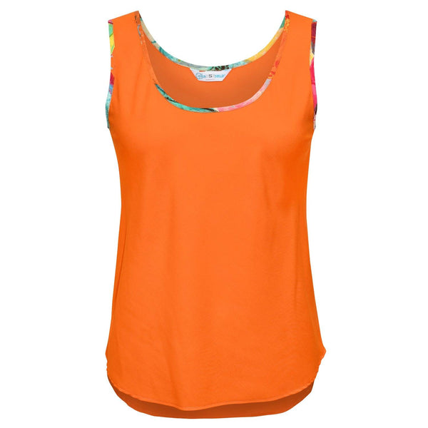 Solid Tank Top with Print Trim - Persimmon - jamsworld.com