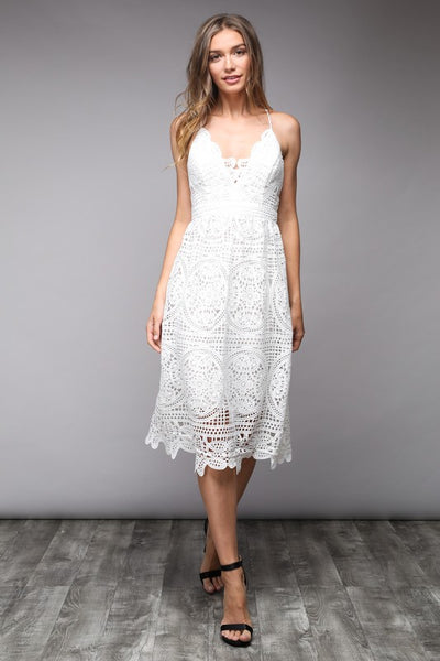 VENETIAN DREAMS LACE MIDI DRESS