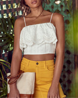 ALL EYES ON YOU EYELET  CROP TOP