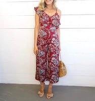 BLOOMING FIELDS MIDI JUMPSUIT BURGANDY