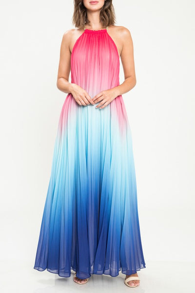 DREAMS COME TRUE PLEATED OMBRE HALTER MAXI