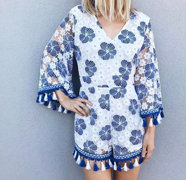 CANCUN FLORAL EMBROIDERED ROMPER