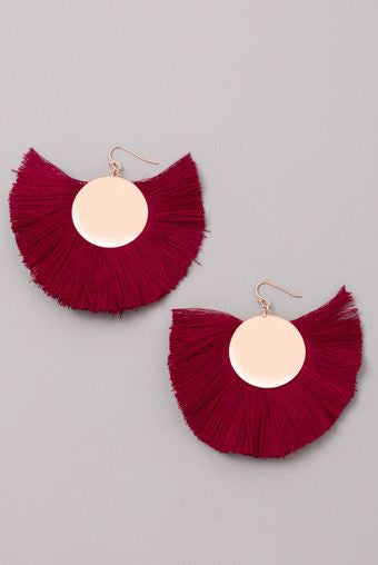 MEDINA FAN DANGLE EARRINGS BURGANDY
