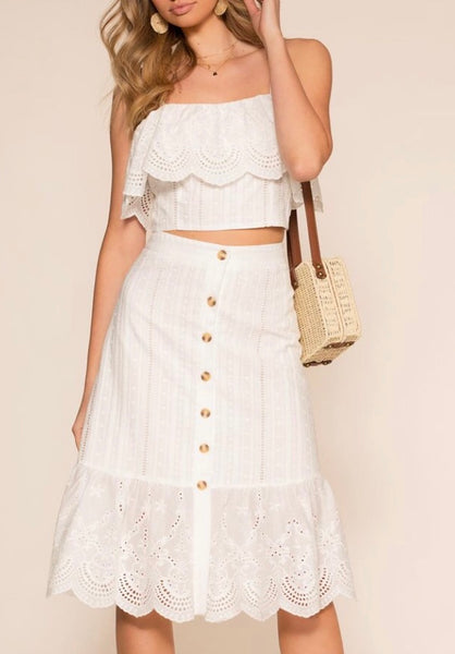 ALL EYES ON YOU EYELET MIDI SKIRT