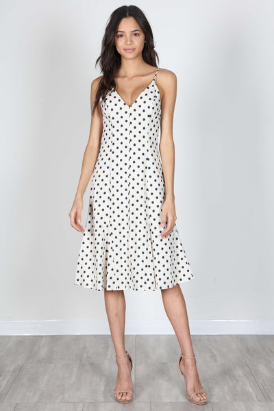 SPELLBOUND MIDI DRESS NAVY DOTS