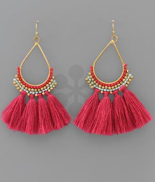MELISSA TASSEL EARRINGS - FUCHSIA