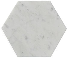 "6"" Carrara Marble Hex Tile"