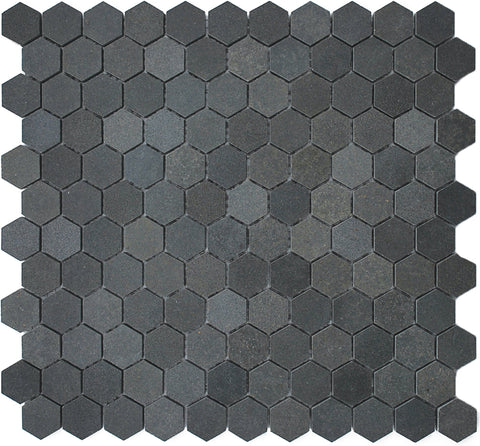 "1"" Hexagon Basalt Mosaic Tile, 11"" x 11.5"""