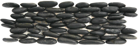 "Standing Polished Black Pebble Tile, 4""x12"""