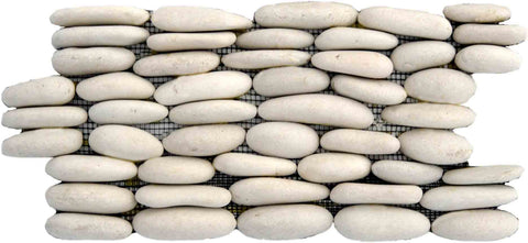 "Standing Ivory Pebble Tile, 6""x12"""