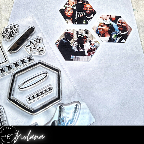 hexagon images and collage elements