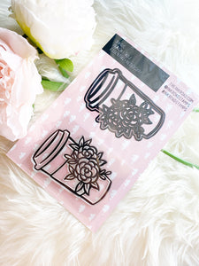 BASICS: Floral Coffee To Go Cup - Stamp & Die Set