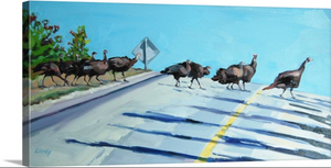 """Wild Turkey Crossing"" Lindy Bishop Painting Reproduction"