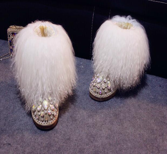 Ice Winter Crystal Furry Boot