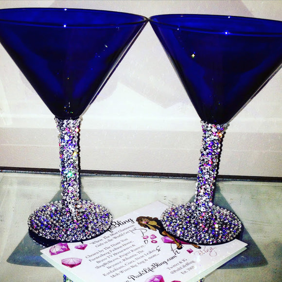Crystal Blue Martini Glass Set
