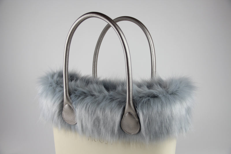 Frosted Gray Faux Fox Fur Trim