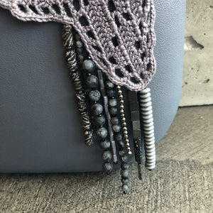 Uniquely Gray Beaded Tat Trim