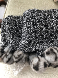 Black & White with Gray Pom Pom Crochet Trim