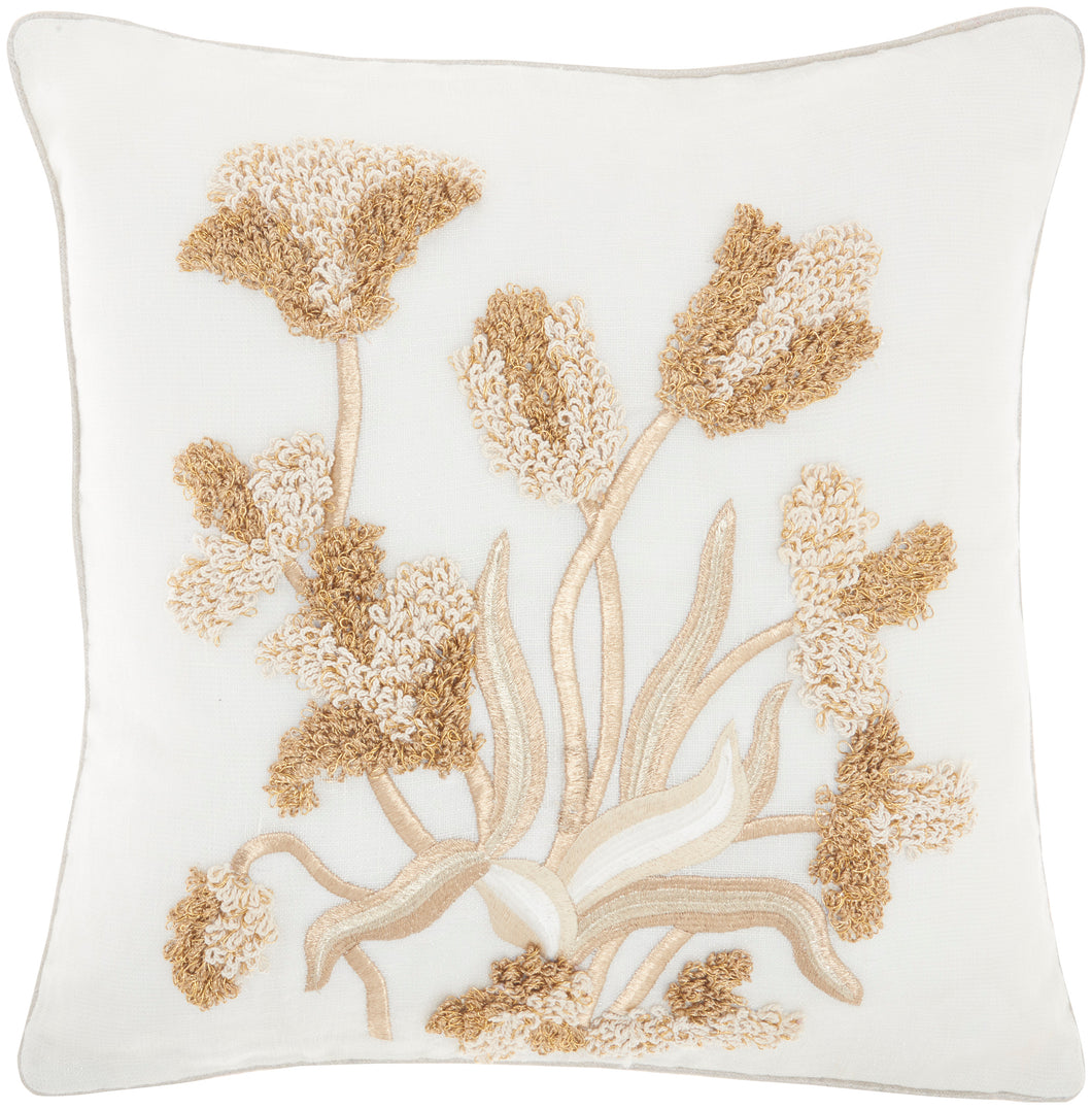 Mina Victory Sofia Metallic Loop Floral Ivory Gold Throw Pillow PN082 18
