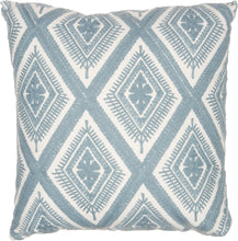 "Load image into Gallery viewer, Mina Victory Crochet Diamonds Ocean Throw Pillow L1022 18"" x 18"""