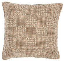 "Load image into Gallery viewer, Mina Victory Life Styles Stonewash Checker Beige Throw Pillow RC456 18"" x 18"""