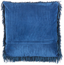 "Load image into Gallery viewer, Mina Victory Shag Soft Ribbon Shag Navy Throw Pillow TL048 20""X20"""