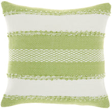 "Load image into Gallery viewer, Mina Victory Outdoor Pillows Woven Stripes & Dots Green Throw Pillow VJ088 18""X18"""