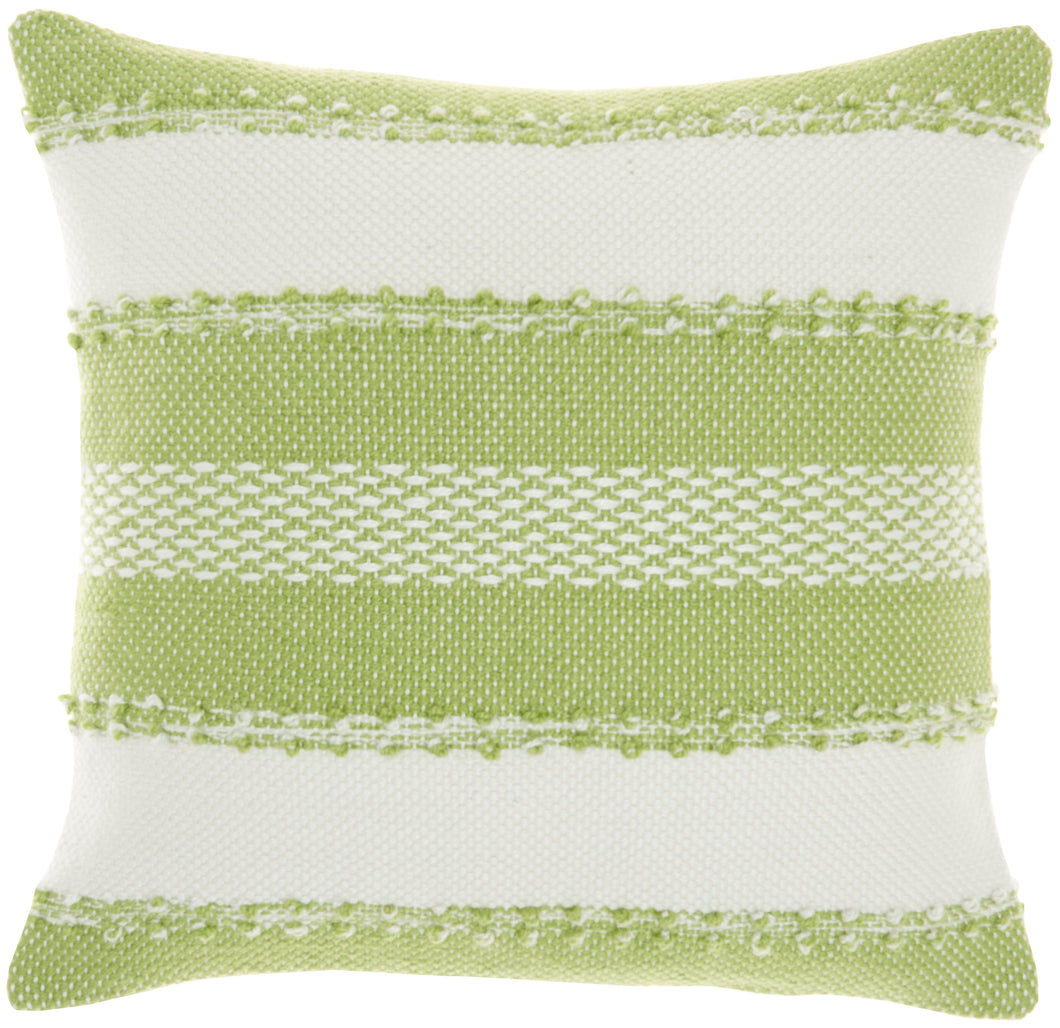 Mina Victory Outdoor Pillows Woven Stripes & Dots Green Throw Pillow VJ088 18