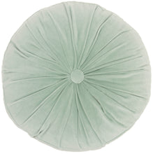"Load image into Gallery viewer, Mina Victory Life Styles Round Ruched Velvet Celadon Throw Pillow RC190 16""X16""RND"