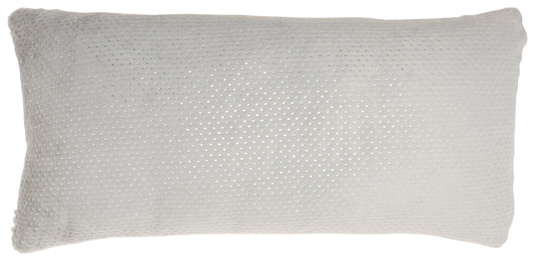 Nourison Fur Dot Foil Print Light Grey Throw Pillow VV021 1'2