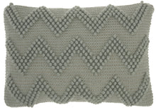 "Load image into Gallery viewer, Mina Victory Life Styles Large Chevron Light Grey Lumbar Throw Pillow DC173 14"" x 20"""