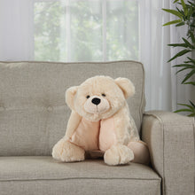 "Load image into Gallery viewer, Mina Victory Plushlines Ivory Bear Plush Animal Pillow Toy N0582 18"" x 22"""