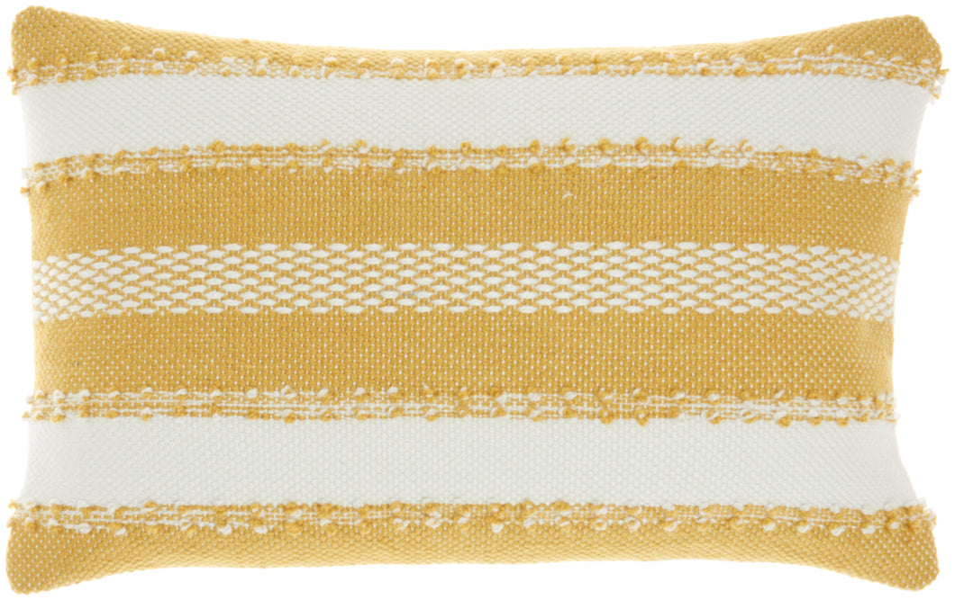 Mina Victory Outdoor Pillows Woven Stripes & Dots Yellow Throw Pillow VJ088 14