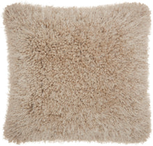 "Load image into Gallery viewer, Mina Victory Lush Yarn Beige Shag Throw Pillow TL003 20"" x 20"""