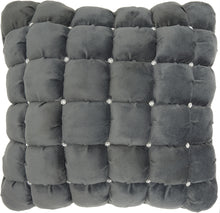 "Load image into Gallery viewer, Mina Victory Luminescence Quilted Swarovski Dark Grey Throw Pillow YS104 20"" x 20"""