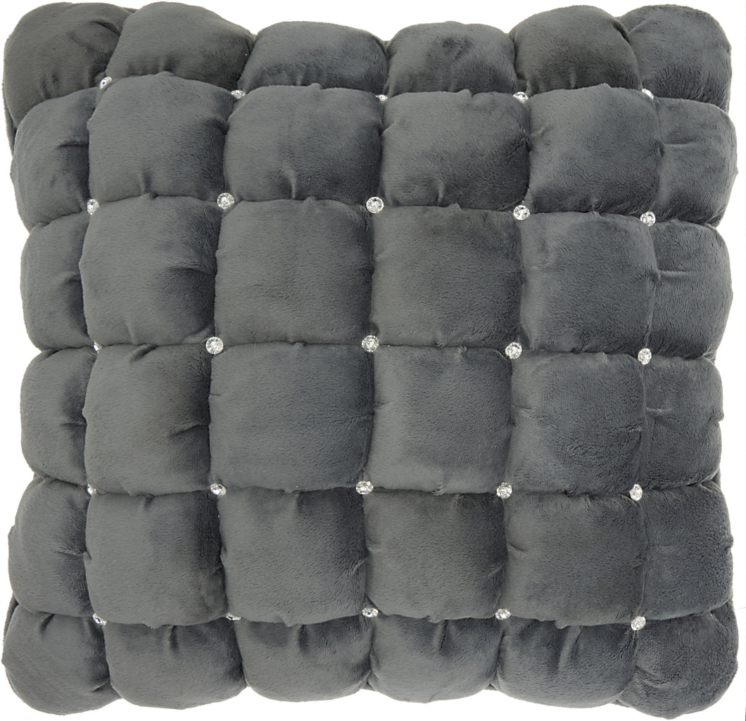 Mina Victory Luminescence Quilted Swarovski Dark Grey Throw Pillow YS104 20