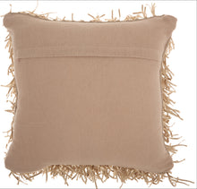 "Load image into Gallery viewer, Mina Victory Shag Metallic Ribbon Shag Beige Throw Pillow DC017 20""X20"""