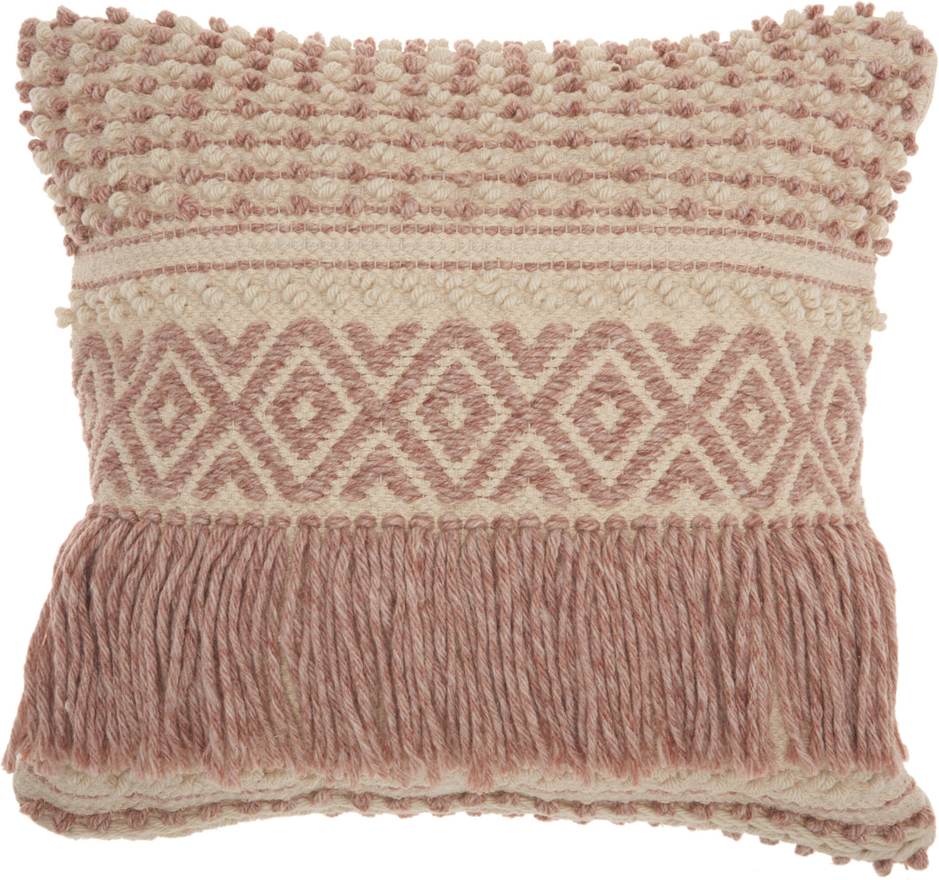 Mina Victory Life Styles Boho Fringe Blush Throw Pillow DC454 20