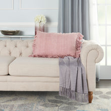 "Load image into Gallery viewer, Mina Victory Life Styles Linen Frilled Border Blush Throw Pillow GE901 16"" x 24"""