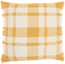 "Load image into Gallery viewer, Kathy Ireland Pillow Woven Plaid Check Yellow Throw Pillow SH300 20""X20"""