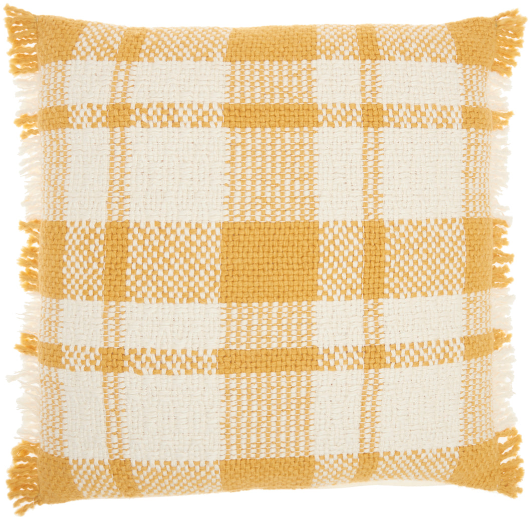 Kathy Ireland Pillow Woven Plaid Check Yellow Throw Pillow SH300 20