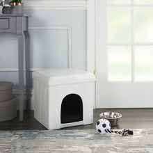 "Load image into Gallery viewer, Mina Victory Pet Beds White Crocodile Pet House HT015 15""X15""X15"""