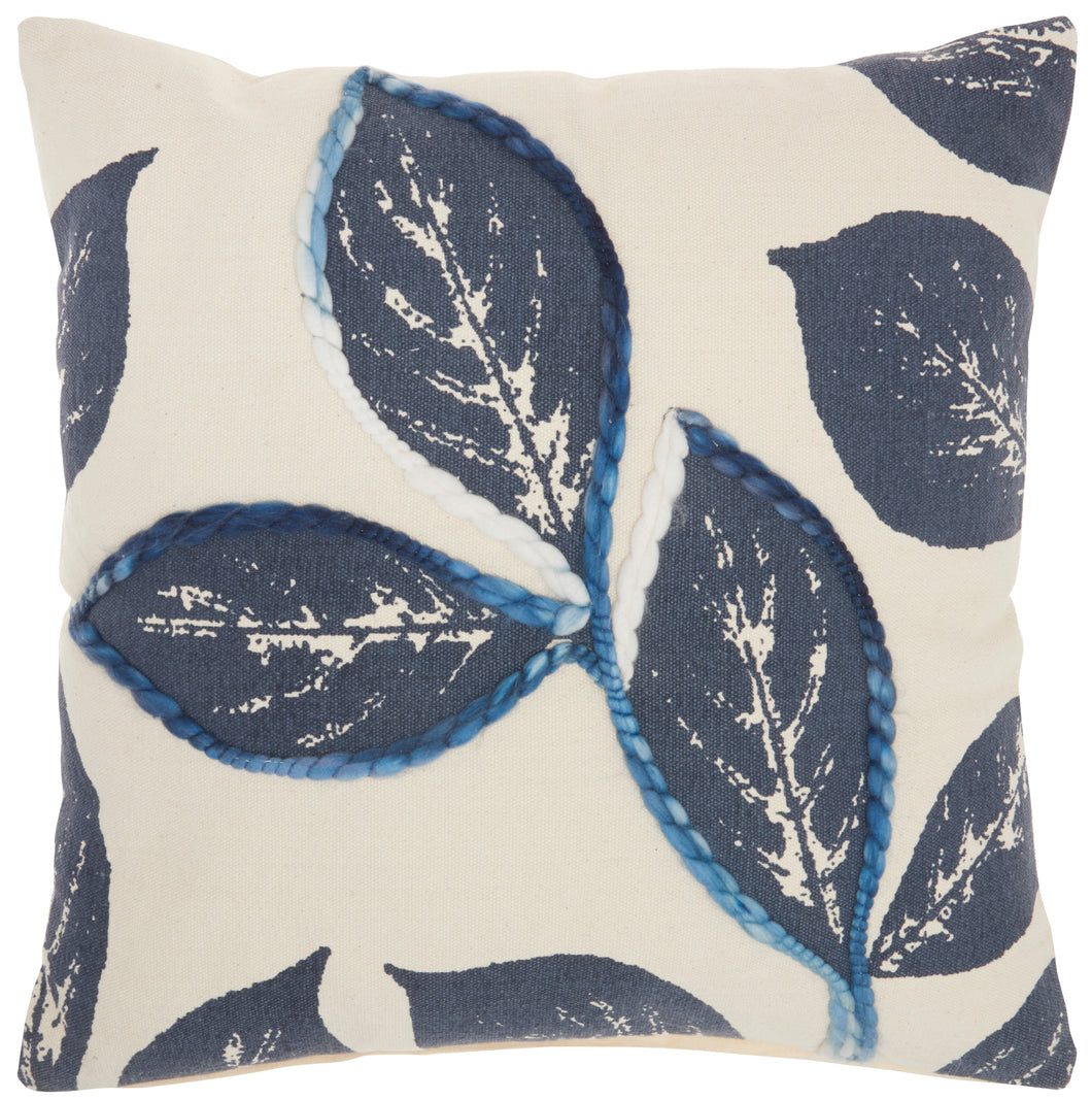 Mina Victory Life Styles Embroidered Leaves Navy Throw Pillow SH031 20