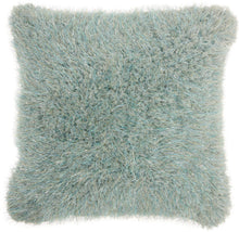 "Load image into Gallery viewer, Mina Victory Shag Candy Lurex Shag Celadon Throw Pillow WE403 20"" x 20"""