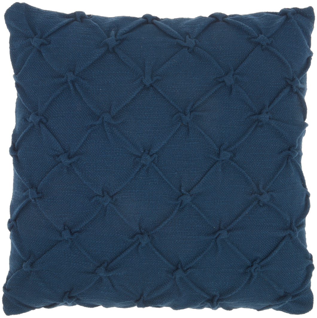 Kathy Ireland Pillow Pin Tuck Navy Throw Pillow AA242 - Throw 18