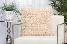"Load image into Gallery viewer, Mina Victory Loop Beige Shag Throw Pillow DL658 20""X20"""