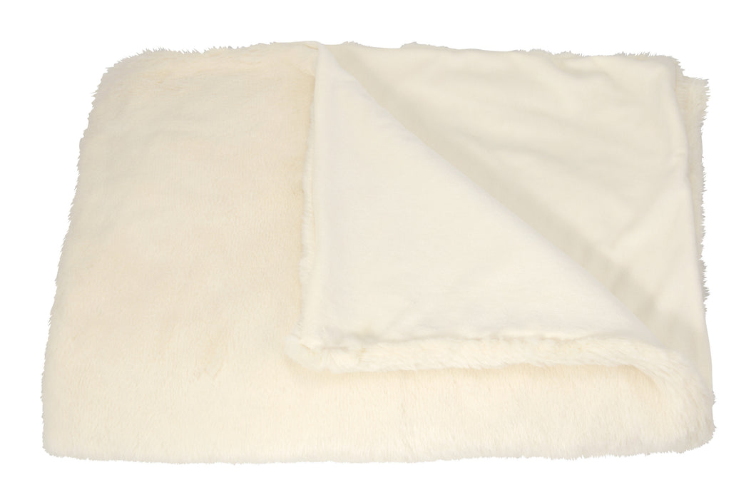 Mina Victory Throw Faux Rabbit Throw Ivory Throw Blanket SZ302 50