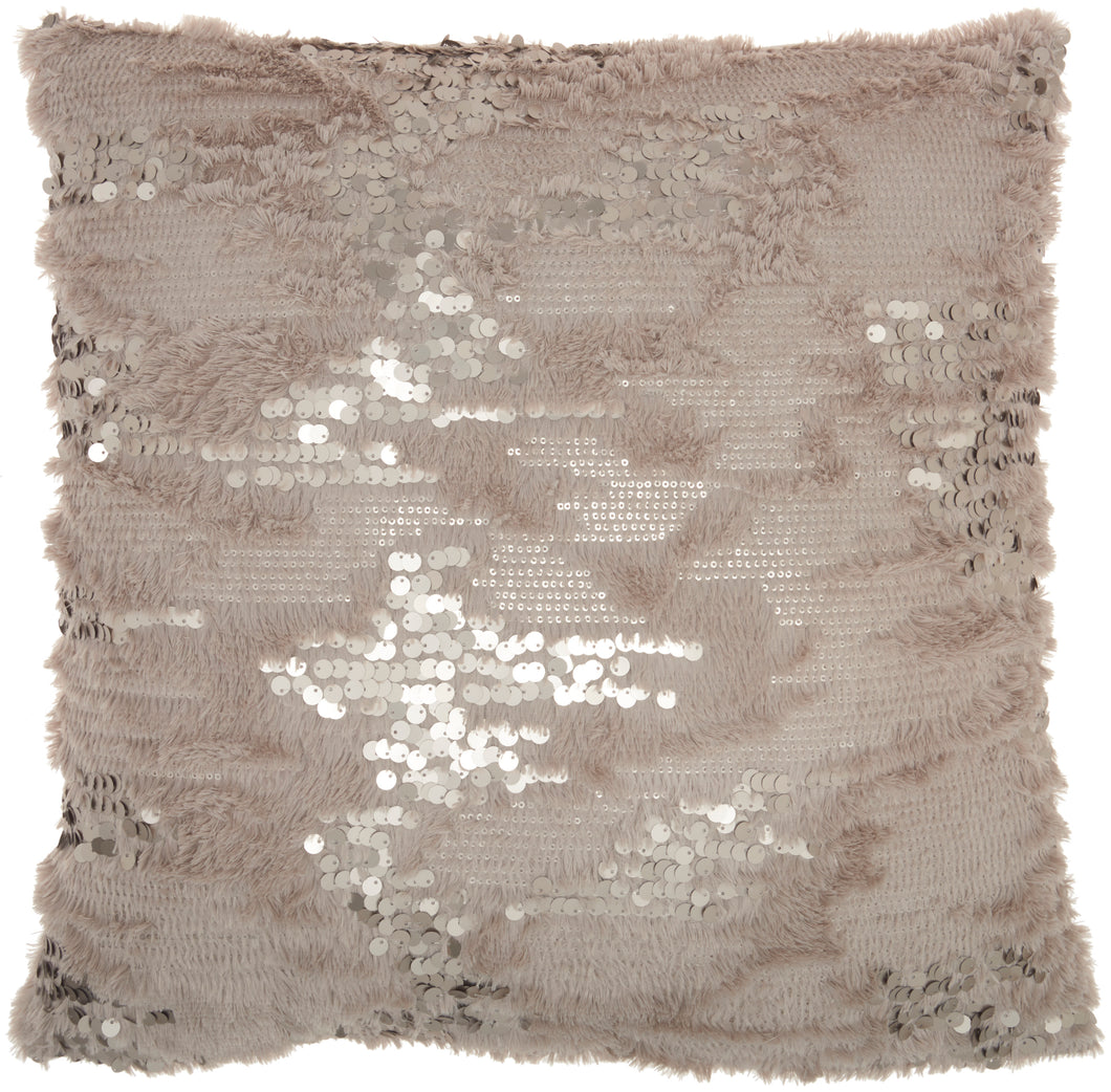 Mina Victory Sofia Faux Fur Sequins Grey Throw Pillow VV212 20