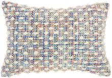 "Load image into Gallery viewer, Mina Victory Outdoor Pillows Woven Loop Dots Multicolor Throw Pillow IH118 14"" x 20"""